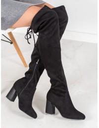 Juodi elegantiški ilgi batai virš kelių - DKZ1029/19B