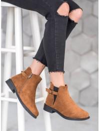 Zomšiniai rudos spalvos kokybiški batai su pašiltinimu - B-6857C