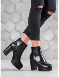 Išskirtiniai odiniai juodos spalvos batai su platforma - OM295B
