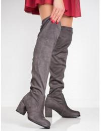 Pilkos spalvos ilgi batai patogiu elegantišku kulnu - V19042G