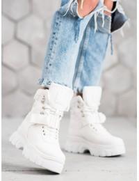 Šilti madingi balti batai su platforma - HE117W