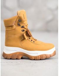 Šilti madingi rudi batai su platforma - HE117C