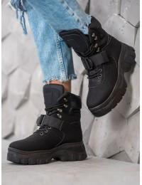 Šilti madingi juodi batai su platforma - HE117B