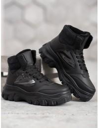 Madingi juodi batai su raišteliais - ZS31B
