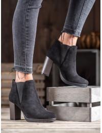 Juodi elegantiškai stilingi batai su kulnu - H9261NE