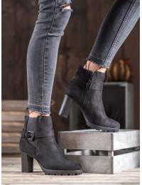 Zomšiniai juodi batai su platforma - 703-1B