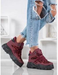 Madingi originalūs bordo spalvos batai su platforma - ZS29R