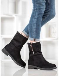 Zomšiniai juodos spalvos batai su kailiu - S118B