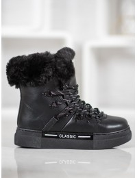 Šilti juodi batai su kailiu - BK903B