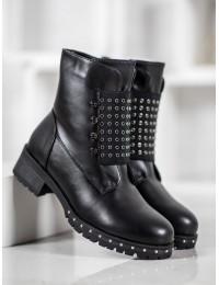 Madingi juodi batai papuošti metalinėmis kniedėmis - V19040B