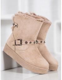 Smėlio spalvos šilti žieminiai batai - C-10KH