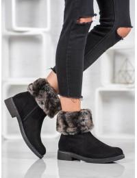 Zomšiniai juodos spalvos batai su kailiuku - S126B