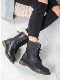 Madingi juodi suvarstomi batai neslystančiu padu - 88888B
