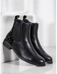Juodi klasikiniai batai su kailiuku - A8053B