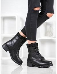 Juodi odiniai suvarstomi batai - V19036B