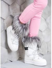 Madingi šilti baltos spalvos batai  - BK915W