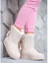 Švelnios smėlio spalvos šilti batai papuošti kristalais - LV67BE