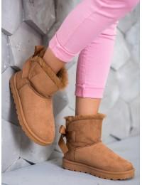 CAMEL spalvos šilti patogūs batai su kaspinėliu - W19-36C