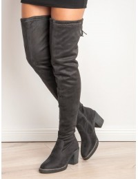 Madingi ilgi pilkos spalvos batai virš kelių - RB06G
