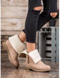 Smėlio spalvos batai su kailiuku - S118SA