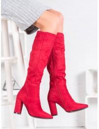 Zomšiniai raudonos spalvos elegantiški ilgaauliai - S1669R