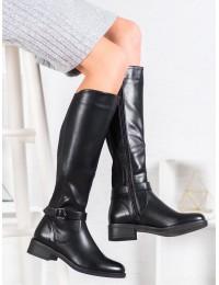 Aukštos kokybės klasikiniai juodi odiniai ilgaauliai - G-7602B