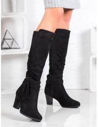 Zomšiniai juodos spalvos elegantiški batai - VQ-307B