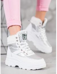 Madingi baltos spalvos batai su kailiu - JL801W