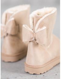 Zomšiniai smėlio spalvos šilti patogūs batai - 8883A