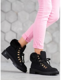 Stilingi juodi batai su kailiu - 8316-1B
