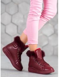 Stilingi bordo spalvos šilti patogūs batai - A07WI-WI