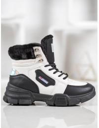 Madingi SNEAKERS modelio batai su kailiu - S312-15W