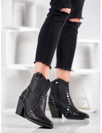 Madingi kaubojiško stiliaus juodi batai - OM299B
