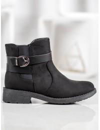 Juodos spalvos zomšiniai batai su pašiltinimu - 119-35B