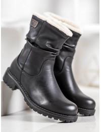 Šilti klasikiniai juodos spalvos batai su kailiu - Z106B