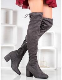 Elegantiški pilkos spalvos ilgi zomšiniai batai - H9210G
