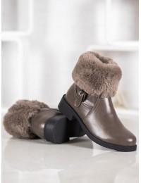 Madingi batai papuošti puriu švelniu kailiuku - J909KH