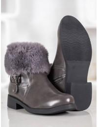 Madingi batai papuošti puriu švelniu kailiuku - J909G