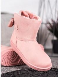 Rožinės spalvos UGG stiliaus batai su kaspinėliu - 8883P
