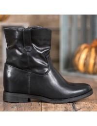 Juodos spalvos odiniai batai su paslėpta patogia platforma - G-7607B