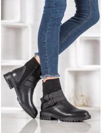 Stilingi juodi batai su dirželiais - M386B