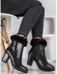 Elegantiški juodi odiniai batai su kailiuku - GD-BM-116B