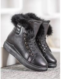 Madingi odiniai batai su kailiu - A07B-B