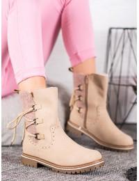 Šilti patogūs smėlio spalvos batai - 909-PA-BE