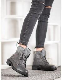 Pilki aukštos kokybės šilti batai su avikailiu - GD-TL15DK.G