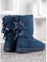 Mėlyni šilti madingi batai su kaspinėliais - B195-4N