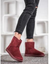 Bordo spalvos zomšiniai madingi batai su kaspinėliais - C-08R
