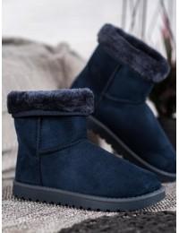 Mėlyni zomšiniai komfortiški šilti batai - C-01BL