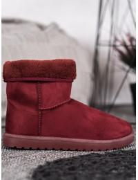 Bordo spalvos zomšiniai komfortiški šilti batai - C-01R