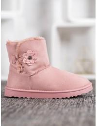 Zomšiniai lengvi šilti batai su gėlyte - Z113P